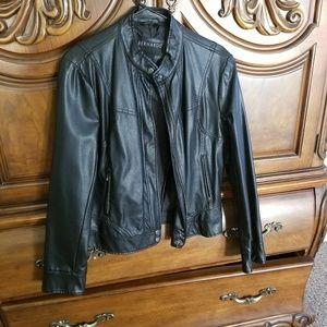 Black synthetic leather jacket